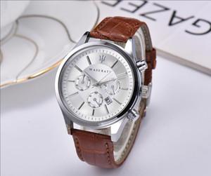 미국 이탈리아 브랜드 패션 마세라티 캐주얼 가죽 시계 VOLARE 여성 남성 42mm 비즈니스 쿼츠 시계 손목 시계