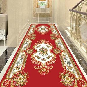 유럽 거실 카펫 주점 홀 바닥 매트 가정용 베란다 호텔 복도 긴 러그 비 슬립 사용자 정의 크기
