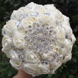 Hnadmade Marfim Ivoire couleur Fleurs artificielles Bouquets de fleurs Bouquet de mariée mariage cristal point de demoiselle d'honneur W236-4 Bouquets