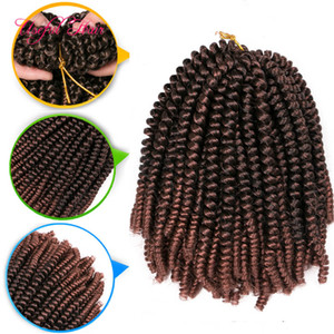 "ombre Spring twist crochet braids 8""hair extensions for black bouncy curl with pre tiwsted synthetic hair extensions xpression braiding hair"