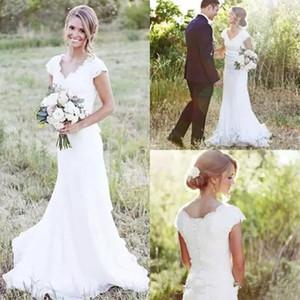 New Elegant Country Lace Wedding Dresses V Neck Cap Sleeve Modest Wedding Bridal Gowns Boho Beach Wedding Dress Covered Button Cheap