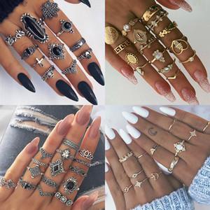 9 Entwurf Boho Vintage Gold Stern-Mond-Ring Set für Frauen Opal Kristall Midi Finger-Ring-Frau böhmischen Schmuck Geschenke