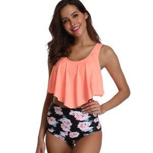 Sweet lovely babados designer top crop mulheres cintura alta tankini bikini set alta qualidade flamingo impressão mulheres biquíni swimsuit