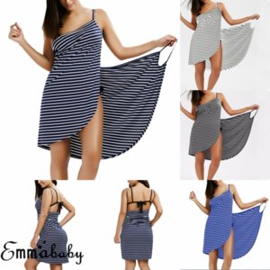 Femmes rayures Sling Backless Maillots De Bain Écharpe Plage Cover Up Wrap Sarong Maxi Dress
