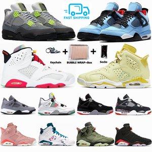 Avec la boîte 4 4s Bred Ce que le Jack Travis 6 hommes de basket-ball 6s Chat noir Chaussures Neon vert métallique Cactus Femmes Homme Chaussures de sport