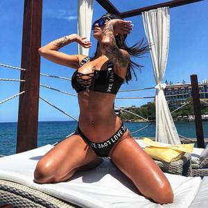 Lettre Femmes Maillots de bain S-XXL imprimé Bikini Maillots de bain Femme Femme Maillot de bain deux-pièces Ensemble bikini lacent Baigneuse de bain Maillot de bain