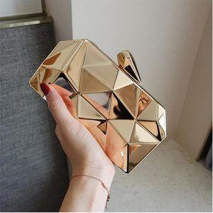 2019 geometrische frauen braut handtaschen für prom party gold schwarz silber abend kupplungen kette tasche perlen auf lager braut partei handtaschen