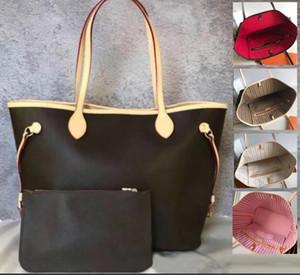 Luxus-Designer öffnen Soft-Einkaufen-Handtasche Frauen-Dame-oxidierter echtes Leder Schultergurt nie Hobo Bag Voll Offen Composite-Geldbeutel-Set