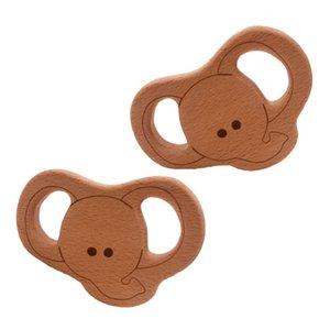 Juguete colgante DIY 200pcs encantador del Pure Nature Haya forma de elefante de madera Mordedor Bebé de la dentición Cuidado Haya Mordedor de la niña