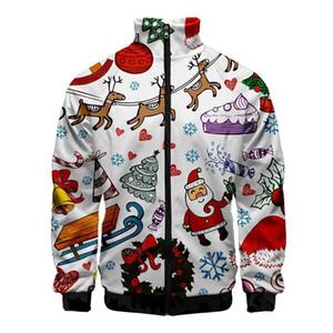 Sudaderas para hombre otoño Impreso Digital Moda Casual chaqueta para hombre Cardigan Tops con diseñador del Mens Zipper Navidad