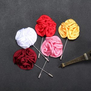 Men brooch flower lapel pin 5cm suit boutonniere fabric yarn pin 15 colors button Stick rose brooches for wedding