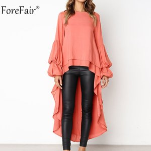 2020 Sommer-Herbst Frauen Kleider reizvolle lange Hülse unregelmäßiges Kleid Laterne-Hülsen-Chiffon- beiläufiges Kleid gekräuselte
