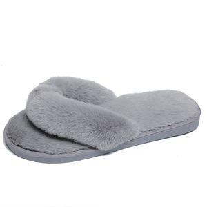 De nouvelles pantoufles de laine de mode en automne et en hiver 2018 pour femmes à fond plat non slip plancher pantoufles en coton domestique Mop herringbone