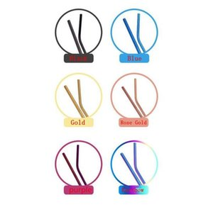 6*215mm 304 Stainless Steel Straw Bent And Straight Reusable Colorful Straw Drinking Straws Metal Straw Cleaner Brush Bar