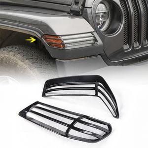 ABS Schwarz-Rad Augenbraue Lampshade Schutz Scheinwerfer Ordnungs-Abdeckung für Jeep Wrangler Sahara JL 2018+ Autozubehör