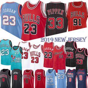 NCAA 33 Scottie Pippen MJ 23 Michael Bull Jersey 91 Dennis Rodman Basketbol Formalar Koleji Üniversitesi MJ Retro Mesh Jersey