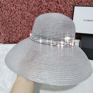 Яркий шелк Хепберн Соломенная соломенная шляпа ветер праздник вогнутая форма бассейна шляпа зонт складной колпачок лампы