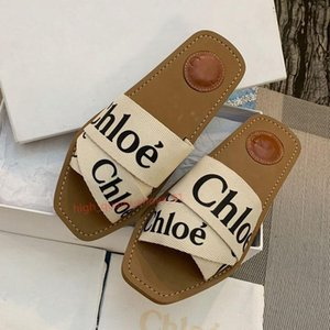 Chloe flip flop Mode Luxus Frauen Designer-Flip-Flop-Baumwollgewebe Sandelholzsommer Strand flache Hausschuhe Schuhe hoher Qualität Xshfbcl