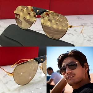 occhiali da sole del nuovo progettista di moda 0196 struttura in metallo retrò pilota in pelle retrò avanguardia semplice stile pop di alta qualità occhiali all'ingrosso