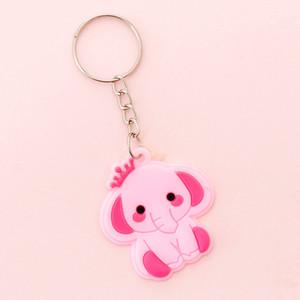 Korean Creative Cartoon Silicon Keyring Kawaii Girls Children Schoolbag Decoration Key Chain Pink Elephant Keychain