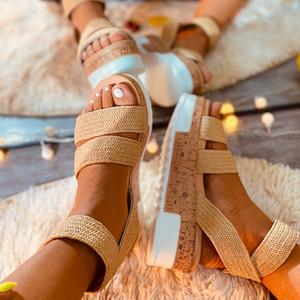 vertvie nuova estate donne della piattaforma donne dei sandali peep toe zeppe altissime scarpe tacco caviglia fibbie Sandalia Espadrillas femminili
