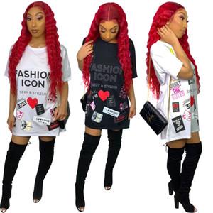 Gömlek Elbiseler 2019 Moda T Gömlek Elbise Kadın Komik SIMGE Baskılı Yaz Elbiseler Karikatür Hip-Hop Dudak Harfleri Mini Elbise Kulübü Parti Vestido