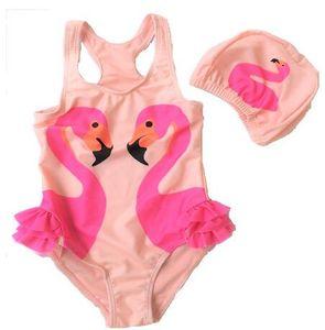 Kızlar Çocuklar İçin Yüzme Cap Swan 2020 kız bebek mayo Bir Adet Swim Wear ile Şirin Çocuk mayo