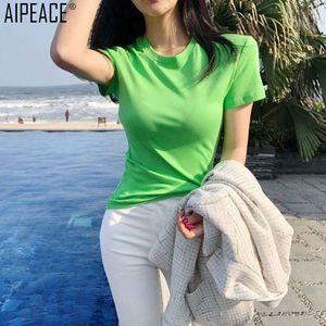AIPEACE 2019 летняя женская футболка женская с круглым вырезом, модная повседневная футболка из чистого хлопка, офисная леди, очень универсальная одежда, топы