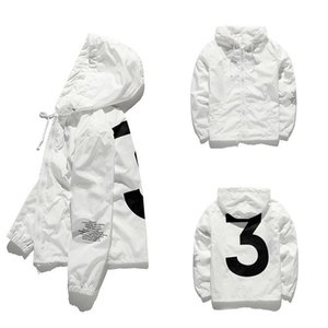 Marque léger à capuche Veste coupe-vent pour les hommes et les femmes « 3 » vestes imperméables imprimé blanc Casual Raincoat Hip Hop rue sport