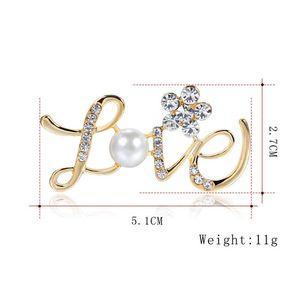 Rhinestone Jóias Flor carta de amor broche de cristal incrustado pin broche de pérolas Jóias Acessórios Hot Sale Brasão