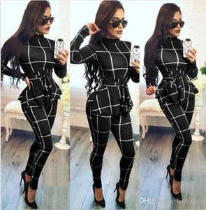 Womens Desinger Jumpsuits Fashion Sashes Plaid Print Jumpsuits Casual Crew Neck Long Sleeve Tops Long Pants Female Clothing