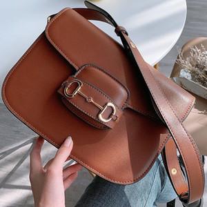 Nuovo retro Saddle borsa Inserire Buckle Genuine Leather Shoulder Bag Messenger Flap Bag di Crossbody cinghia borsa tracolla borsa borse