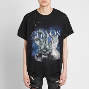 Rue Tide à manches courtes à trois têtes de dragon PrintingTee Casual trou Beggar Shirt Femme Hommes Rétro T-shirt HFXHTX317