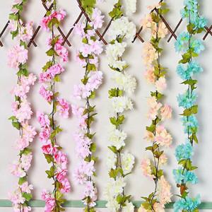 1pcs Simülasyon Rattan Bitki güzelleştirmek etti Sakura Yapay Çiçek asın Yeşil Rattan Oturma Odası Duvar Dekorasyonu