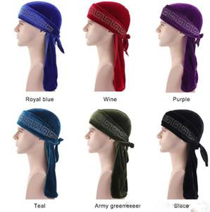 Velvet Durag Piraten-Hüte Haar Motorhaube mit Long Tail Hip-Hop-Mützen Radfahren Caps Für Erwachsene Für Männer und Frauen Sport Hip Hop Durags Kappen