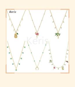 2019 Новой мода Fun красивого тропического Golden Coconut Tree Flamingo Pineapple Fruit Multi-стиль ожерелье Элегантные женские ювелирные изделия