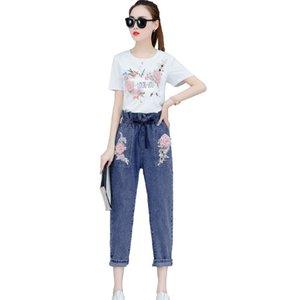 Rlyaeiz New 2 Piece Set Women 2019 Summer Fashion Floral Embroidery T shirts + Calf-length Shorts Tracksuit Female Sweat Suit