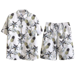 ملابس الصيف 2020 رجالي مجموعة القطن الكتان قميص رجالي الأزهار شاطئ السراويل طباعة القمصان والسراويل سروال اثنين من قطعة بدلة