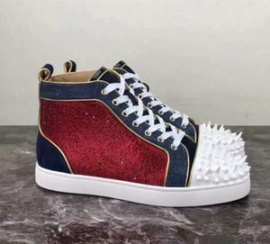 2019 New Mens Womens High Top Suede Red Spikes Inferior Sapatos casuais Moda Cavalheiro Designer lace-up da festa de casamento Sneakers tamanho 36-47 C03