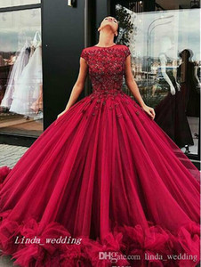 2019 Burgundy Quinceanera платье Princess Puffy Cap Willeves Applique Sweet 16 лет длинные девушки Prom Party Pageant Page Plus размер на заказ