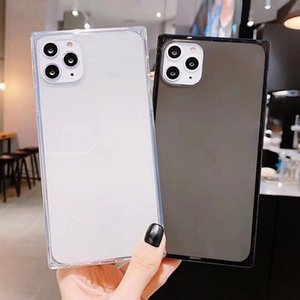 Transparent Square Candy Color Phone Case For iPhone 11 Pro Max 6 6S 7 8 Plus SE2 X XS XR MAX Soft TPU Simple Shockproof Back Cover
