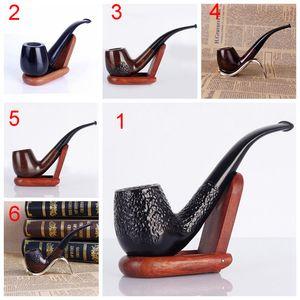 15cm courbé Marteau en bois Pipe ébène Cigarette à main-pipe Sculpté lisse classique Hommes portable Easy Clean filtre Tuyau BH1818 CY