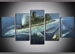 5 Paneller Tuval Baskı üzerinde Tuval Wall Art Deniz Balık Adası Gemi Resimleri Tablolar Giclee ve Posterler Yağ Paintngs Yapıt