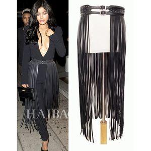 Фантастические черные кожаные дизайнерские ремни с бахромой для женщин Длинные кисточки с пряжкой и корсетом Пояс на модном! BG-006 C19010301