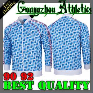 1992 Manchester chaqueta ausente clásico FC Originales 90 92 BECKHAM GIGGS KEANE lejos chaqueta de chándal del Reino 90 92 chaqueta larga de la manga de Jersey Retro