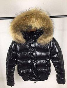 Giacca M donne di lusso Breve ispessimento caldo Giù cappotto ispessimento femminile vestiti reale Raccoon Fur Collar Cappuccio Down Jacket