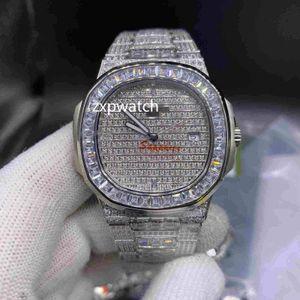de homens de qualidade superior relógios automáticos Iced fora Aço Diamond Watch 40MM prata inoxidável Baguettes moldura do diamante safira do relógio