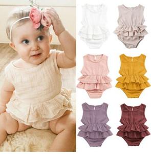 Bebé recém-nascido Bodysuit infantil de Verão Linho Ruffles onesie Baby Girl bodysuits sólidos Vestuário Costume New Born