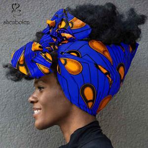 """Shenbolen Afrika Headwrap Kadınlar Pamuk Balmumu Kumaş Geleneksel Headtie Eşarp Türban% 100% Pamuk Balmumu 72 """"x 22"""""""