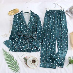 MECHCITIZ Automne Hiver Chaud Pyjama Set Femmes Dormir Or Velvet Sexy Homewear Pijama Peignoir Pyjama Pantalon Long Robe